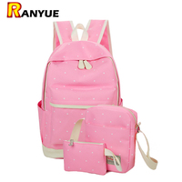 Canvas Backpack Women Dot Printing School Bag For Teenagers Girls Preppy Style Composite Bags Set High