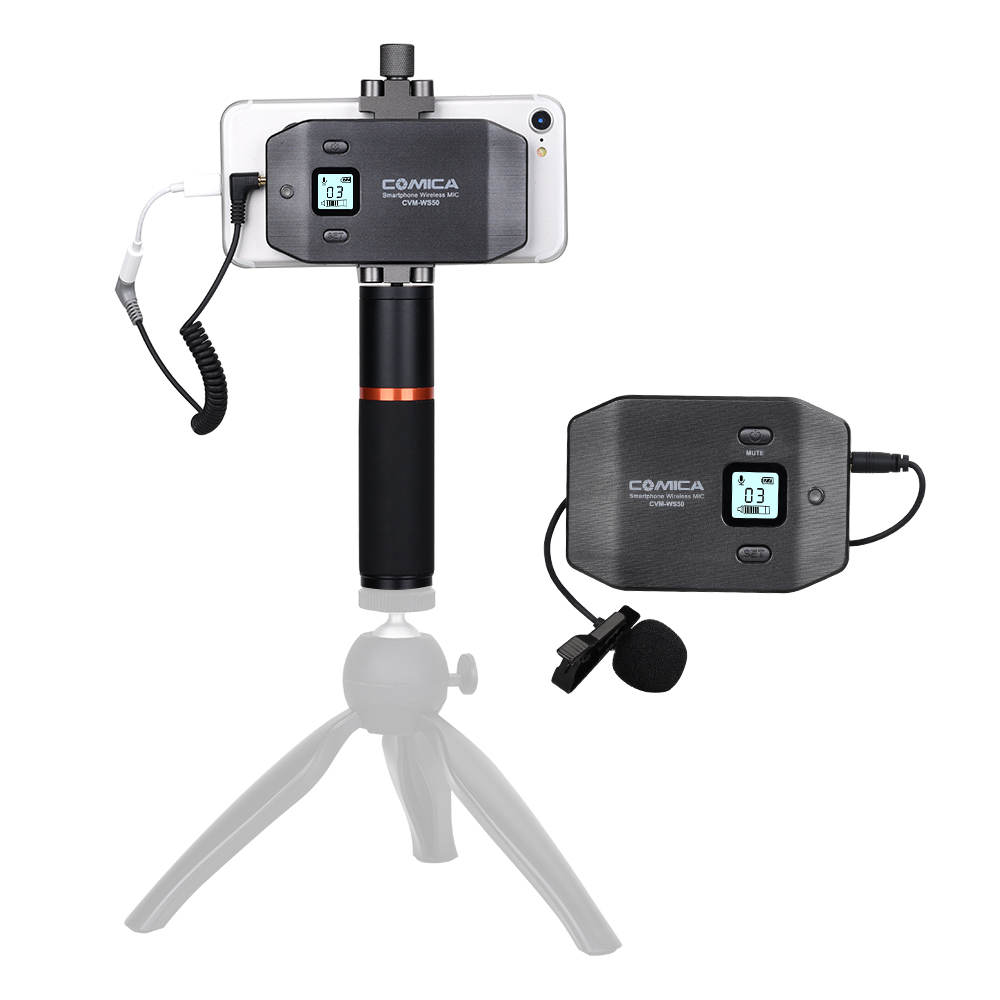 WS50 Smartphone Wireless Microphone Lavalier Mic For Iphone Android Phone 6 Channels Smartphone Clamp Handheld Grip
