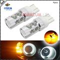 4pcs Amber Yellow High Power 10-SMD CRE'E-XP-E 7443 7444 7440 T20 LED Replacement Bulbs For Car Front or Rear Turn Signal Lights