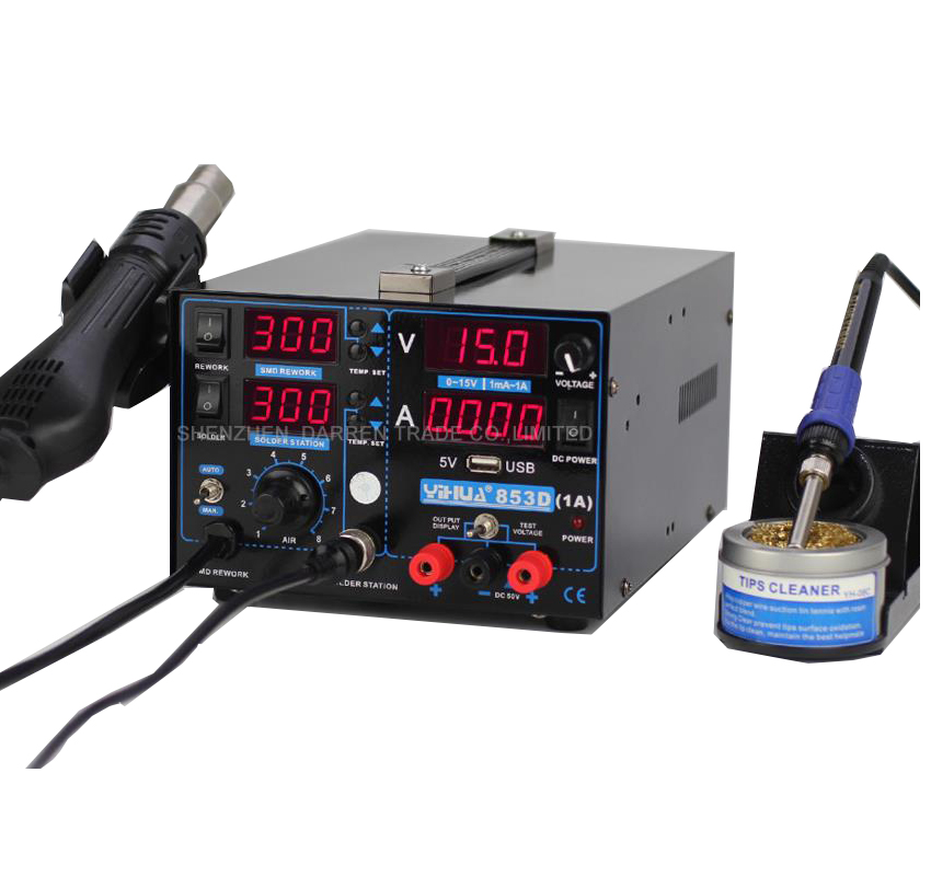110V/220V YIHUA 853D 1A Repair Soldering Station Hot Air Gun Solde Iron Soldering Station With English Manual110V/220V YIHUA 853D 1A Repair Soldering Station Hot Air Gun Solde Iron Soldering Station With English Manual