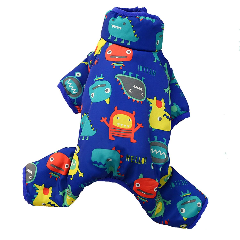 Rojo/azul para mascotas de invierno mono abrigo Teddy ropa de gato ropa de cachorro vientre cálido diseño abrigo general para pequeño cachorro pet