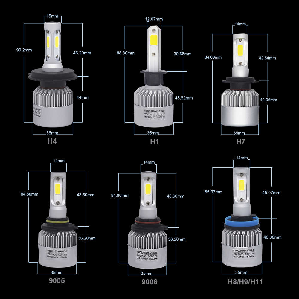 YHKOMS H4 H7 Led Lamp H11 H8 H1 H3 H9 H13 9004 9005 9006 880 881 H27 Car LED headlight Bulbs Auto Fog Light 8000LM 6500K 12V 24V