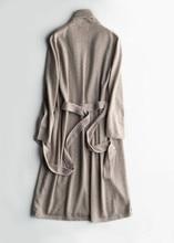 100% goat cashmere knit women's long cardigan pajamas-robe