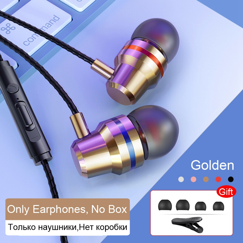 TOMKAS Wired Earbuds Headphones 3.5mm In Ear Earphone Earpiece With Mic Stereo Headset 5 Color For Samsung Xiaomi Phone Computer (3)