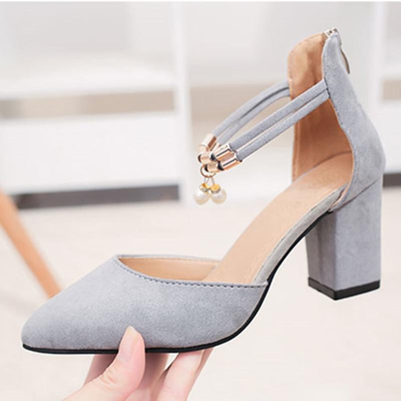 Talons 2018 gray Profonde Jsd Hauts 5 34 Cm Mujer Mode Haute Chaussures Femmes 40 Zapatos D'été 7 De Taille Femme Black Peu Shuangxi Bouche Xgqwq