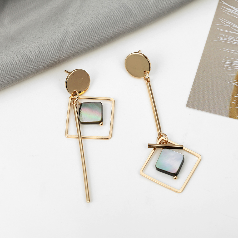 TMXK angel 19 Square Geometric Metal Earrings Korean Fashion Earrings for Women Gift for Wedding Birthday Friends and Lovers 2