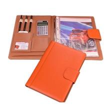 professional a4 PU leather folder file executive portfolio documents organizer ring binder with calculator--orange/brown/black
