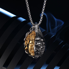 OQEPJ Gothic Half Buddha Magic One Idea Necklace Pendant 316L Stainless Steel Men Necklaces Gold Silver Color Handmade Exqu