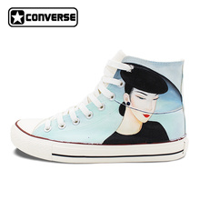 Original Design Hand Painted Shoes Converse Classic Beautiful Lady High Top Canvas Sneakers Unique Christmas Gifts