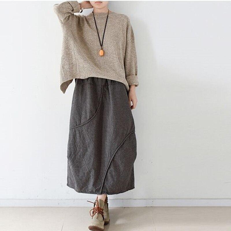 2017 Original Winter Warme Vintage Frauen Rock Elastische Taille Baumwolle Chinesischen Stil Nationale Lange Rock Hohe Qualität Weibliche Saia Durchsichtig In Sicht