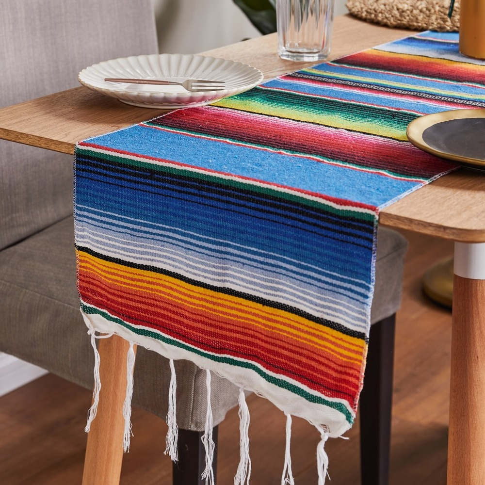 Mexican Rainbow Table Flag Restaurant Wedding Decoration Cotton Table Runners Birthday Party Supplies Tablecover 213x35cm