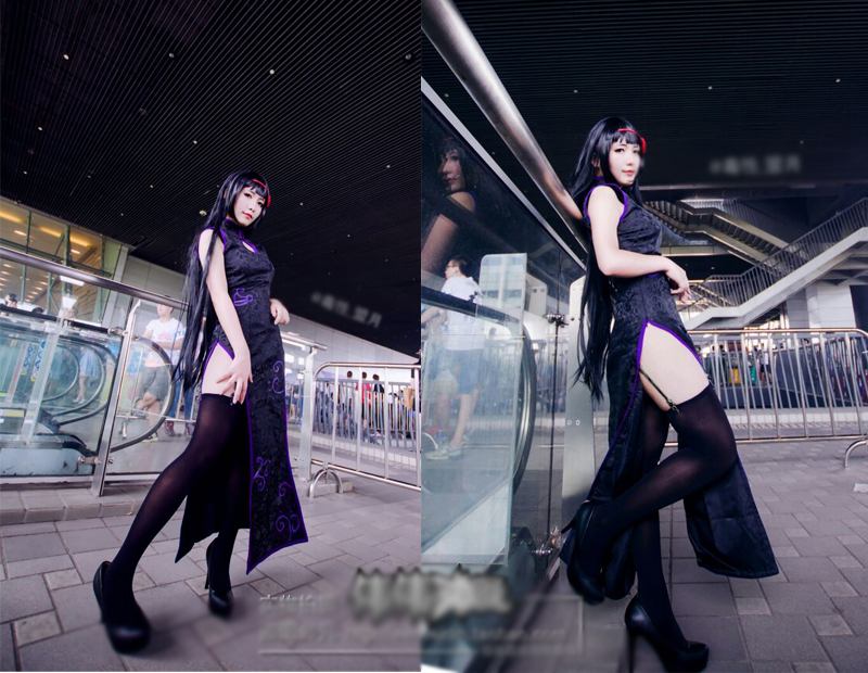 Puella Magi Madoka Magica Akemi Homura Cosplay Costume black cheongsam