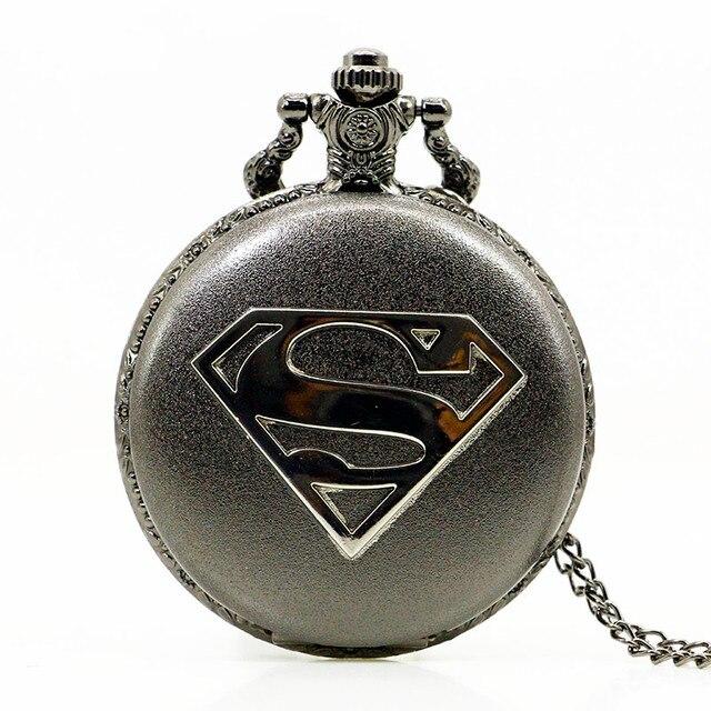 new cool black case marvel superhero superman theme pocket watch