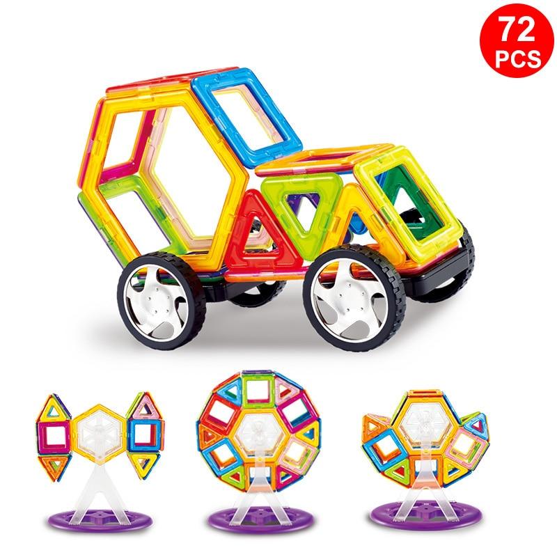 72PCS/Set Standard Size Magnetic Designed construction Blocks Big Size 3D Model Magnet Building Bricks Children Educational Toy