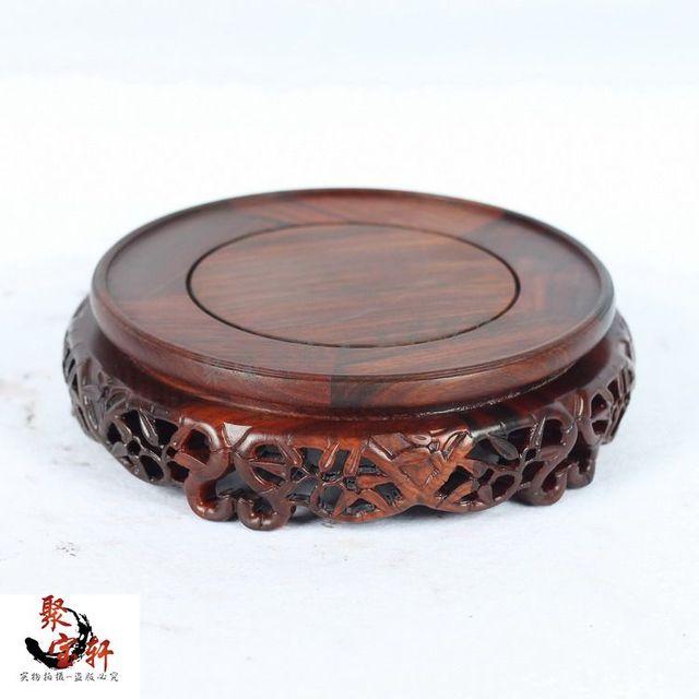 Jacarandá escultura urucum artesanato base circular de madeira real de buda de pedra são recomendados vaso artigos de mobiliário