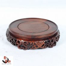 Rosewood carving annatto handicraft circular base of real wood Buddha stone are recommended vase furnishing articles