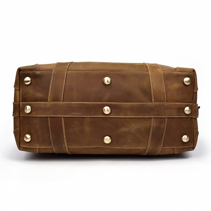 Bagaj ve Çantalar'ten Seyahat Çantaları'de Büyük kapasiteli Erkek seyahat çantası Kalın çılgın at hakiki deri seyahat spor Vintage haftasonu Bagaj çanta büyük laptop çantaları'da  Grup 3