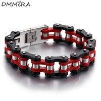 Fashion Men Bike Chain Bracelet Red Black Titanium Steel Motorcycle Link Bicycle Bike Chain Bracelets Jewelry