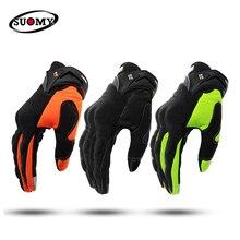 SUOMY Motorcycle Gloves Men Motocross Gloves Full Finger Guantes Gant Moto Gloves Riding Motorbike Summer Green Black Orange