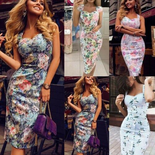 Formal Women Bodycon Floral Striped Dress Sleeveless Strap Button Sundress Summer Lady Sheath Women Pencil Dress