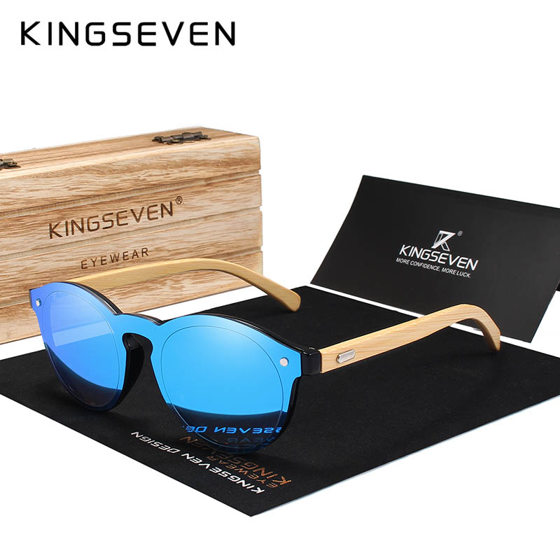 KINGSEVEN Sunglasses Men Bamboo Sun Glasses Women Brand Designer Original Wood Glasses Oculos de sol masculino 6