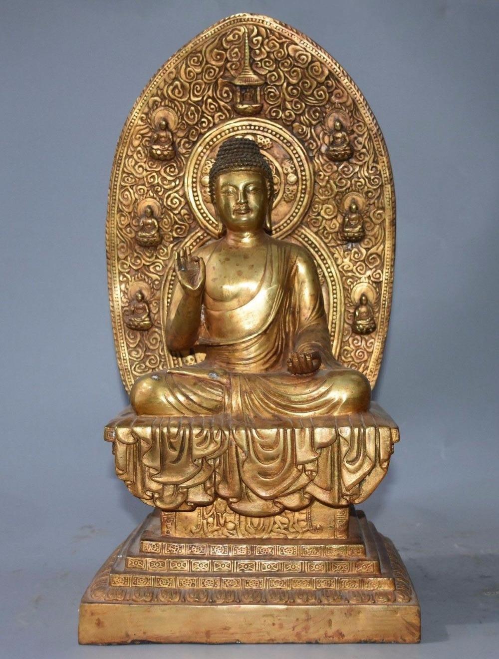16 Tibet Buddhism Bronze Gilt Sakyamuni Shakyamuni Amoghasiddhi Buddha Statue16 Tibet Buddhism Bronze Gilt Sakyamuni Shakyamuni Amoghasiddhi Buddha Statue
