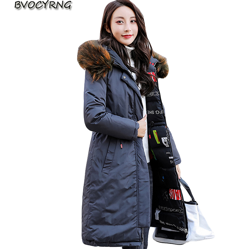 2018 New Arrival Winter Jacket Women Long Cotton Padded Outerwear Womens Coat Parka With Colorful Fur Female Hooded Jackets tops
