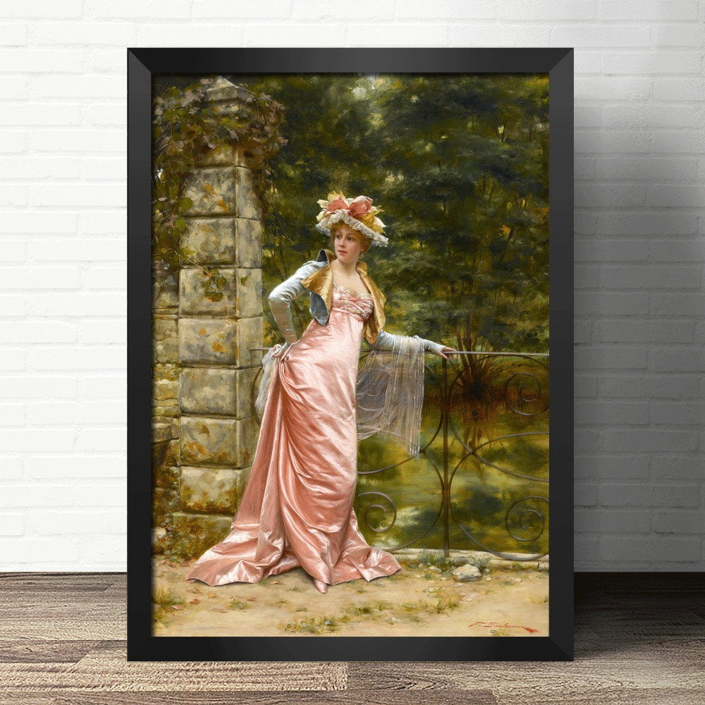 Elegant court lady people Arts Needlework 14CT Canvas Unprinted Handmade Embroidery DMC Cross Stitch Kits DIY Home Decor