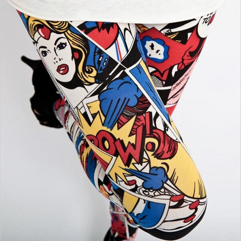 CHSDCSI New Casual Women Trousers Lovely Women's Cartoon Animal Cartoon Beauty Head Print Leggings