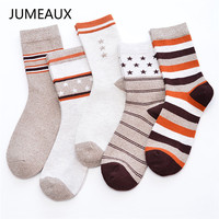 JUMEAUX 2017 Fashion Striped Socks For Men 5 Styles Casual Breathable Cotton Socks Brand Design