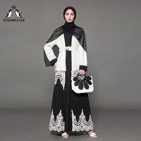 TOPMELON Fashion Robes Islamic Clothing Black White Lace Decorated Abaya for Women Turkish Dubai Abaya