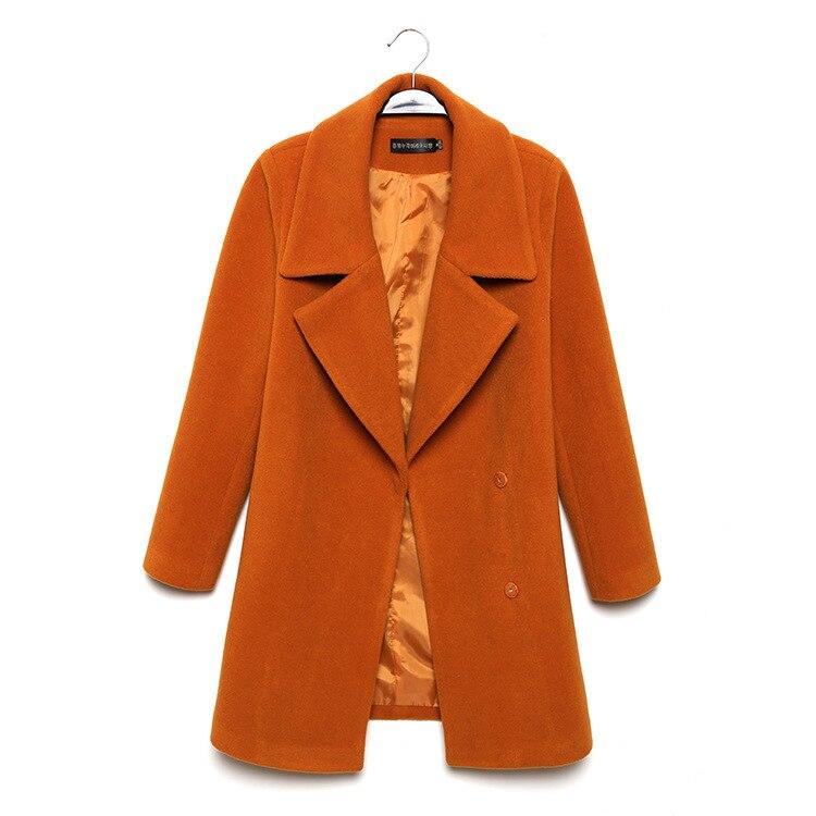 Taille Office Cachemire orange En Veste rouge down Col Turn Lady Manteau De Et Large Femmes À Long Vert jaune Solide Laine rrZ8I