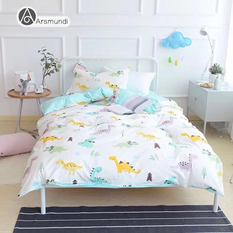 Arsmundi Cute Lamb Gray Stripes Cartoon Bedding Set Children Duvet Cover Set 100% Cotton Bed Set With Flat sheet 3pcs