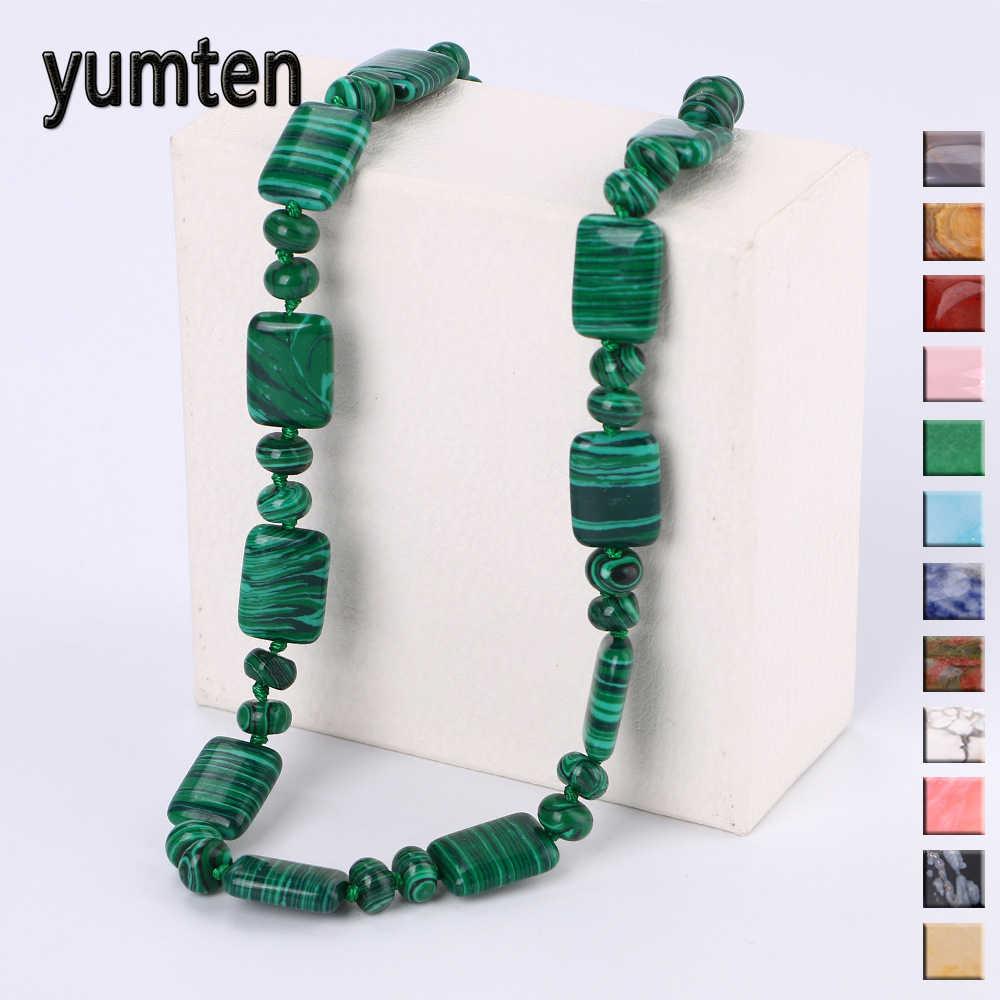 Yumten зелёные малахитовые ожерелья цепь с квадратным сечением мужчины состояние мужчины t чокер винтажные женские ювелирные изделия Бусы из драгоценных камней аксессуары Femme Lucky