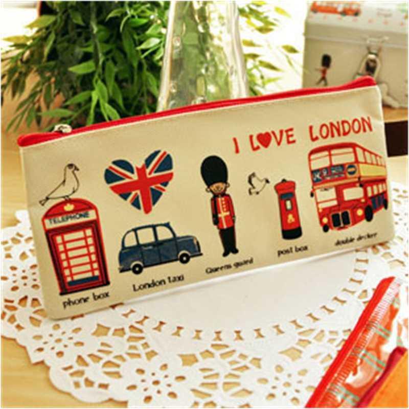 London estilo Pencil Case Pen Bag Makeup Cosmetic Bag bolsa com zíper caso Moeda Titular Bolsa Mulheres Sacos Cosméticos Fresco