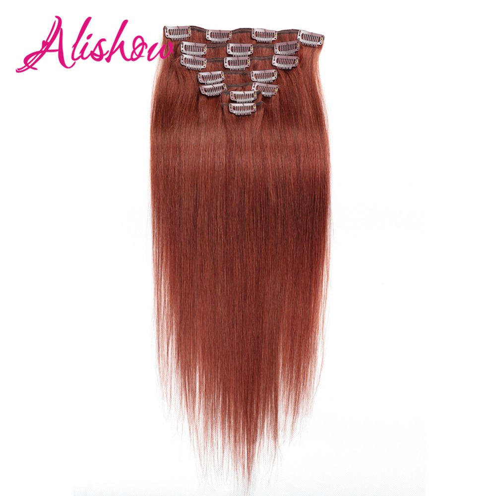 Alishow Human-Hair-Extensions Natural Clip-In Remy Straight Machine-Made Full-Head-Sets