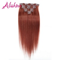 Alishow Machine Made Remy Straight Hair Clip In Human Hair Extensions Natural Hair 8 Pieces/Set Full Head Sets 120G Ship Free