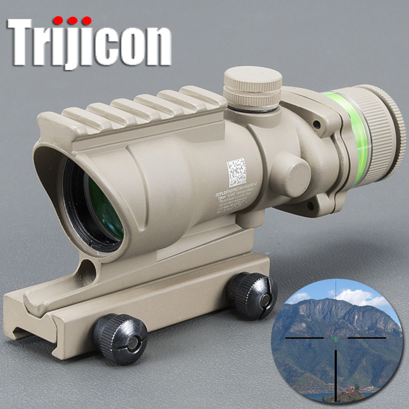 Acog Tan Color Tactical Style 4x32 Rifle Scope Red Dot Green Optical Fiber 20mm Rail Rifle Dot Sight Scope With Laser