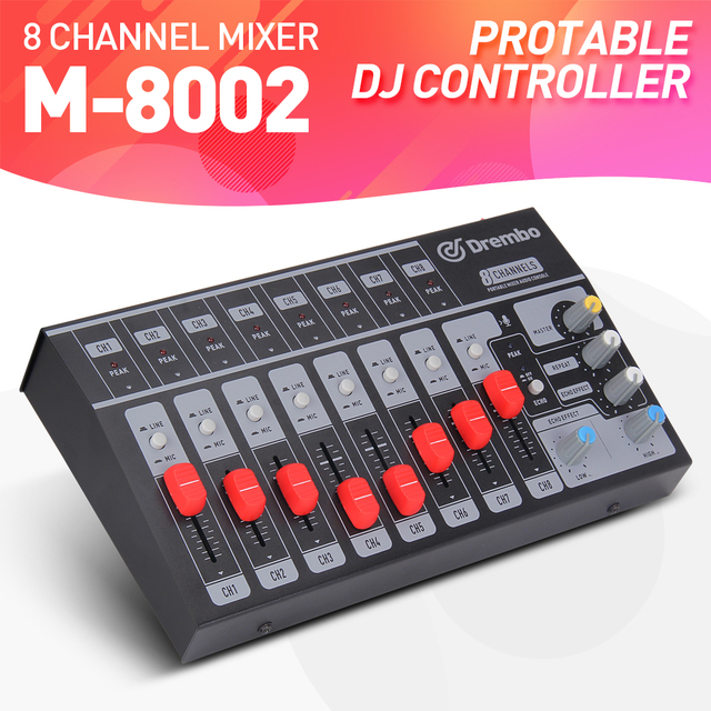 US $64 99 |8 Channel single/4 Channel stereo USB Portable Mini mixer audio  Console Mixer dj controller Extended for band, stage,karaok-in DJ Equipment