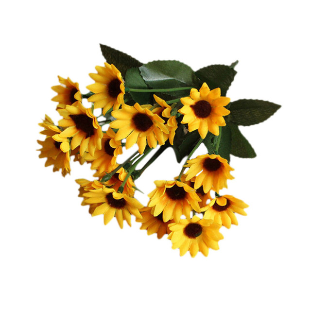 1pcs fake simulation sunflower 14 head artificial silk flower 1pcs fake simulation sunflower 14 head artificial silk flower bouquet for valentines day home wedding floral mightylinksfo