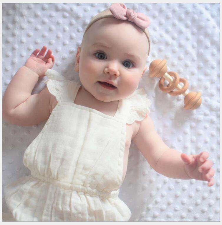 baby cotton linen flying sleeve romper little girls ruffles cross straps gauze onesie baby lovely clothing summer