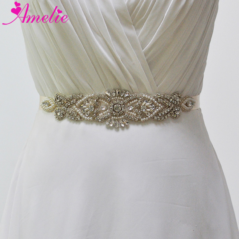 Wedding Accessories Dependable Rhinestones Wedding Belt Pearls Flower Bridal Belt Silver Crystal Jeweled Bridal Sash For Wedding Prom Gown