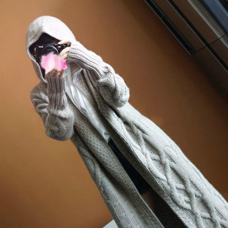Smpevrg automne hiver Nouvelles femmes chandail cardigan femme couche épaisse Européenne style long pardessus à manches longues chaud tricoté avec cap