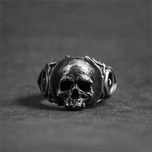 Unique Silver Gothic Tooth Skull 316L Stainless Steel Ring Mens Punk Rock Biker Jewelry linsion handmade 925 sterling silver mens biker rock punk skull ring ta60 us size 7 15