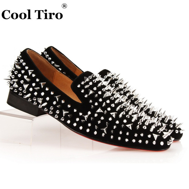 Cool Tiro Silver Spikes Loafers Men Smoking Slipper Shoes Banquet