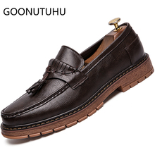 2019 new fashion men's shoes casual leather loafers male classic brown and black slip on shoe man oxfords shoes for men hot sale недорго, оригинальная цена