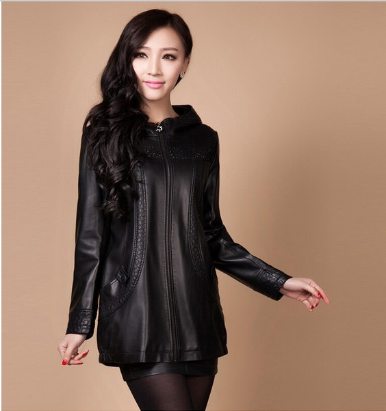 free shipping wholesale women leather jacket high quality