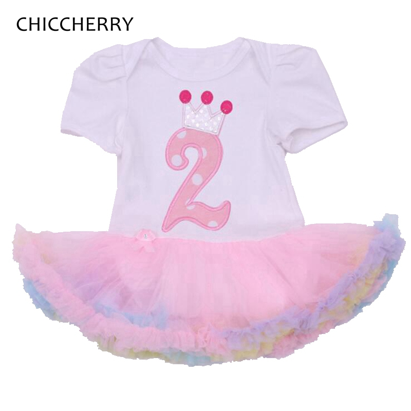 Baby Girl Romper Summer Crown 2nd Birthday Outfit Infantil Ropa Bebe Jumpsuit Lace Rompers For Girls Clothes Infant Clothing