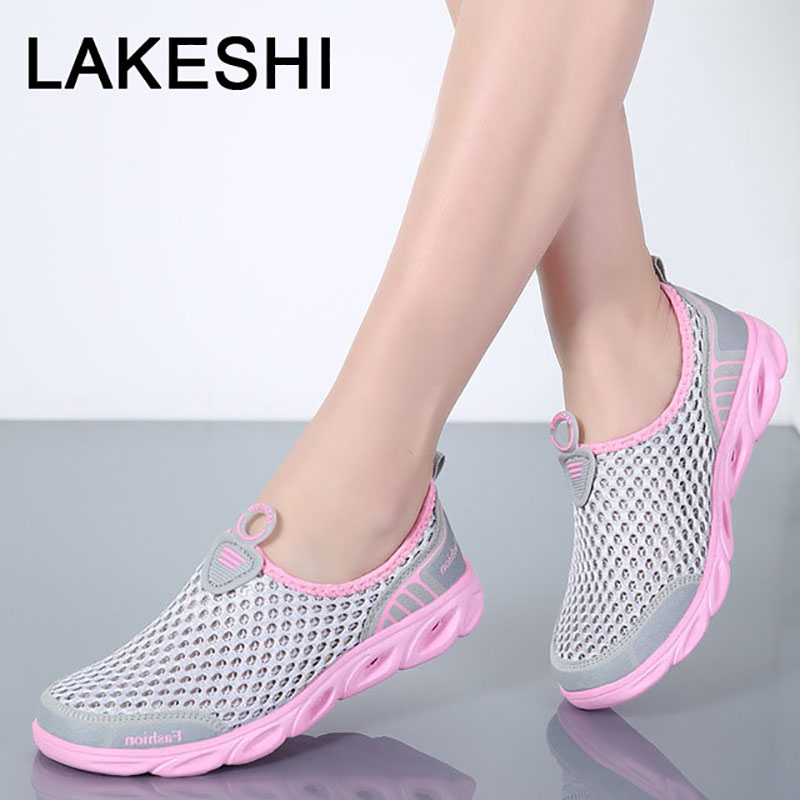 LAKESHI Women Loafers Breathable Fashion Mesh Shoes Female Wild Casual Flat Shoes Slip-On Summer Women Shoes Big Size 36-45 wdzkn 2018 big size 35 42 women shoes breathable casual shoes women spring summer lightweight slip on loafers women flat shoes
