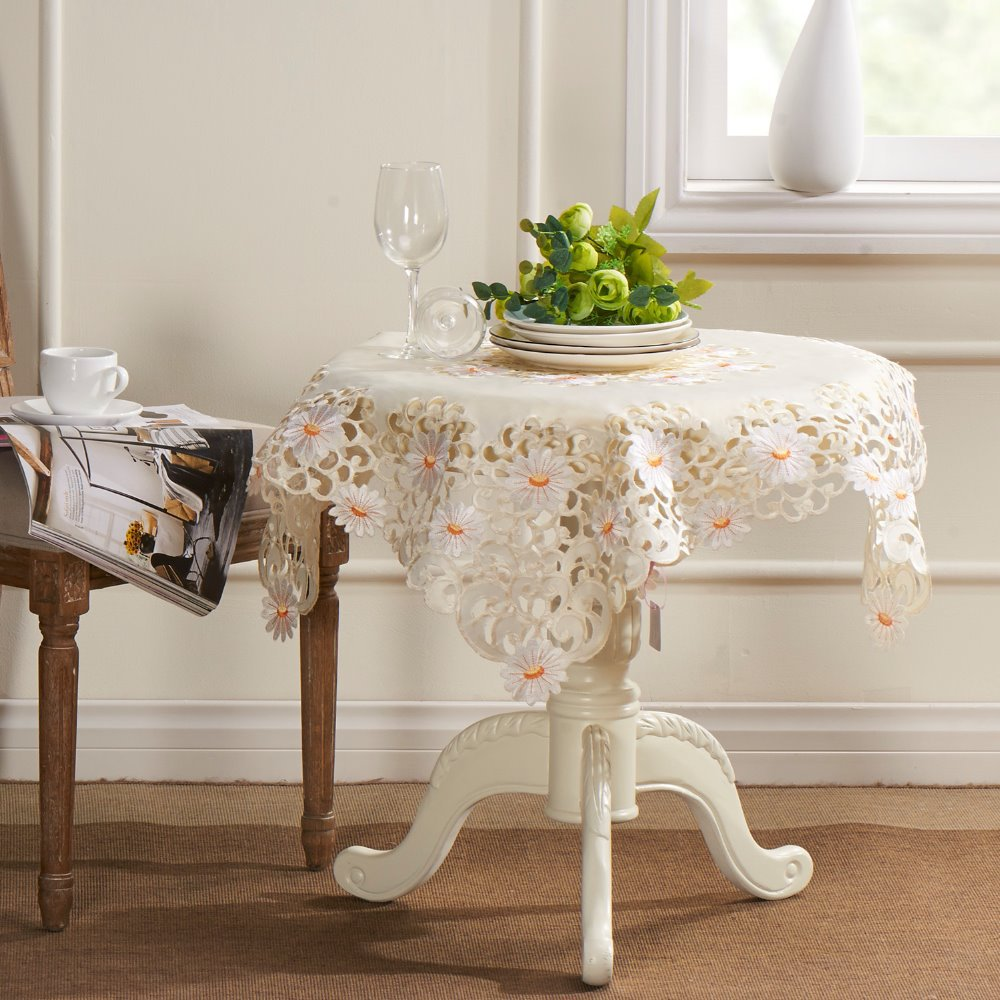 White daisy embroidery cutwork square tablecloths 85x85cm for 85 square tablecloth